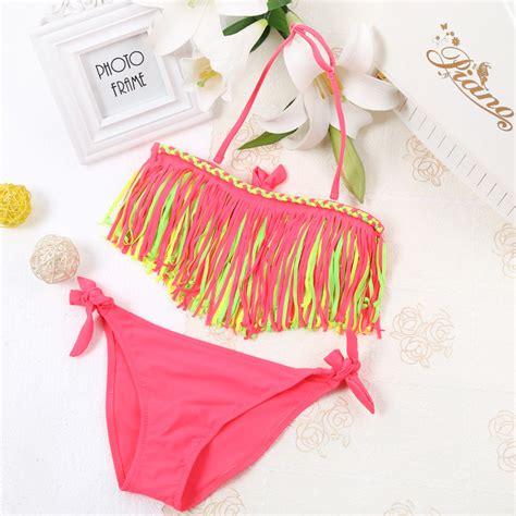 korean styles teens bikinis  children girls colorful