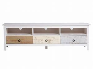 Meuble Tv Bas Et Long : meuble tv bas en bois massif 3 tiroirs et 3 niches ~ Teatrodelosmanantiales.com Idées de Décoration