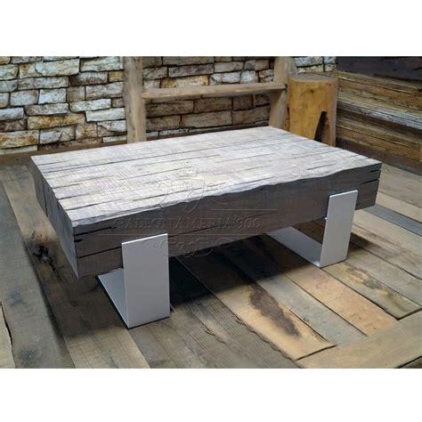 tavolini word tavolino da salotto  travi  legno massello invecchiato  gambe  ferro