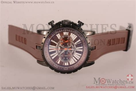 Roger Dubuis Matic Brown Rubber top aaa roger dubuis replica watches sale