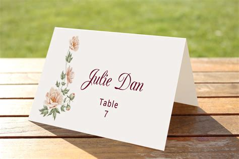 table number place cards wedding table place card template card templates