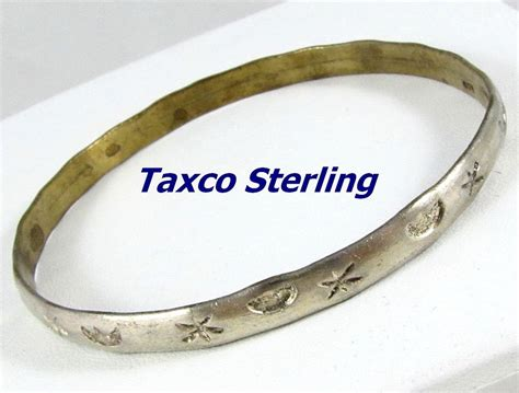 Vintage Taxco Mexico Sterling Silver Bangle Bracelet from
