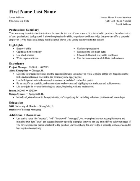 Resume Format And Exle by Standard Resumes Free Excel Templates