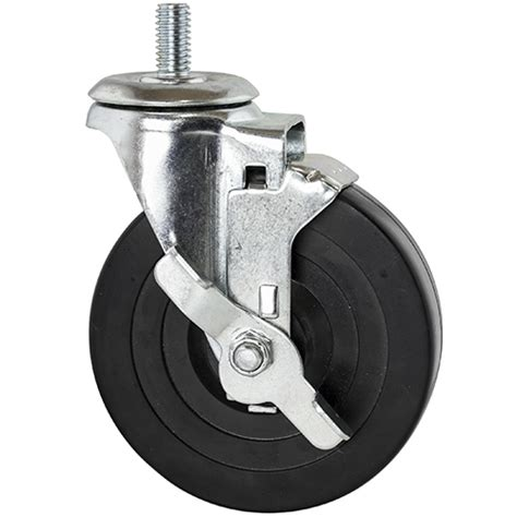 chrome arc floor threaded rubber casters w brake for wire shelving