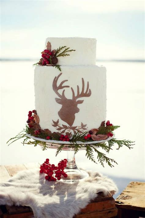 winter wedding cake  deer