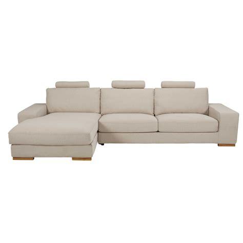 canapé 5 place canapé d 39 angle gauche 5 places en tissu beige chiné