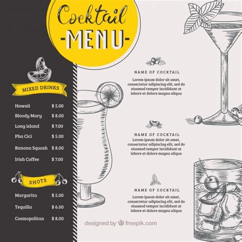 drink menu template cocktail menu vectors photos and psd files free