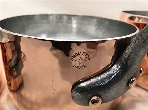 chomette favor set   french copper tin lined hammered sauce pans rocky mountain retinning