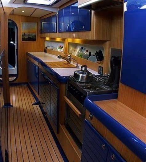 boat galley kitchen designs spirit of adventure 65 blue water cruising yacht owen 4853