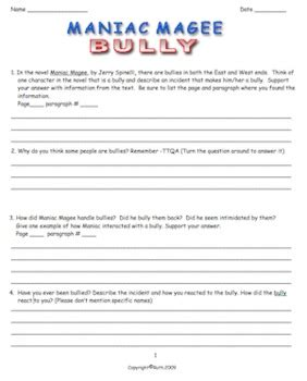 maniac magee worksheets worksheets for school roostanama