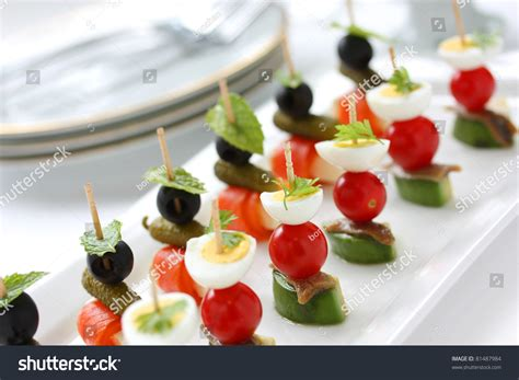 canapé cuisine canapes on toothpicks appetizer pinchos stock photo 81487984