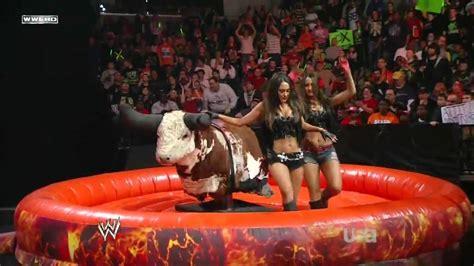 diva bull riding contest hd wwe raw   feb