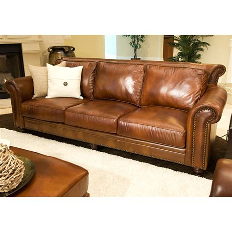 Rustic Leather Loveseat by Paladia Leather Sofa In Rustic Brown Dcg Stores