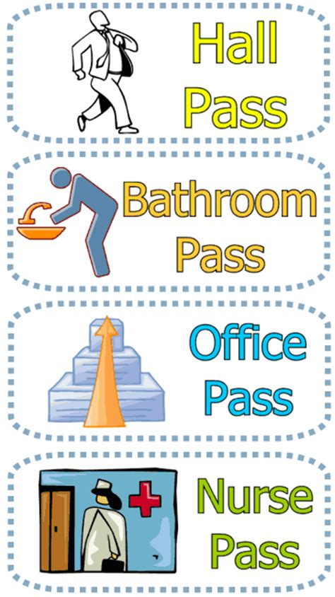 bathroom pass template bathroom passes daily tips