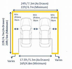 Standard garage dimensions and measurements by length for Largeur porte garage double