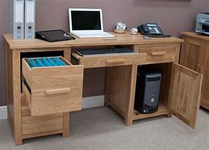 Opus Solid Oak Large Computer Desk Furniture4YourHome