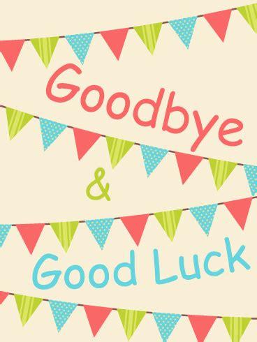 colorful goodbye good luck flag card