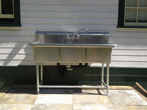 outdoor kitchen sink drain 3 compartment stainless steel sink and faucet 3866