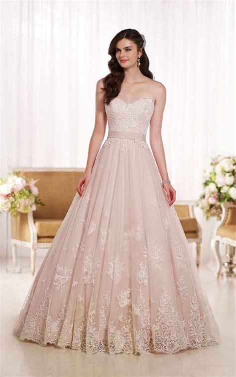 lace on tulle designer wedding dress essense of australia