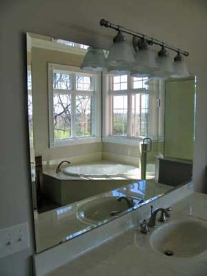 Beveled Bathroom Mirror, Bear Hill Interiors Chic Bathroom