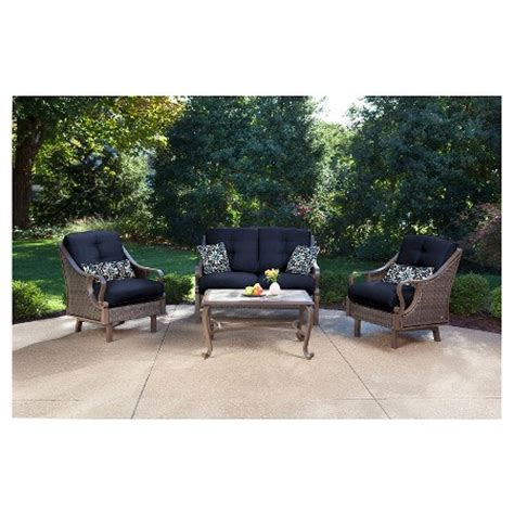 outdoor all weather 4 pc patio seating set hanover