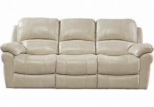 Vercelli Stone Leather Power Reclining Sofa - Reclining