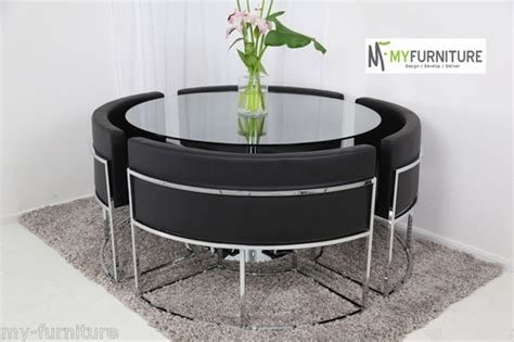 Round Glass Dining Table And Black Chair Set  Hideaway