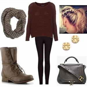 Cute outfit with the combat boots and the infinity scarf ...
