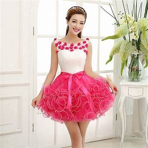 Free Returns Lovely Flowers Hot Pink Ball Gown Cocktail ...