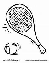 Tennis Coloring Racket Drawing Racquets Printable Easy Getcoloringpages Getdrawings sketch template