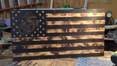 American flag coffee table and can have custom words wood burned above or below it. DIY Wooden Rustic American Marine Flag - YouTube