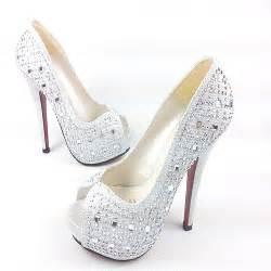 Silver High Heel Wedding Shoes
