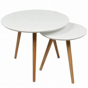 Table Basse Scandinave Blanche : 2 tables basses gigognes rondes blanches lagan achat vente table basse 2 tables basses ~ Teatrodelosmanantiales.com Idées de Décoration