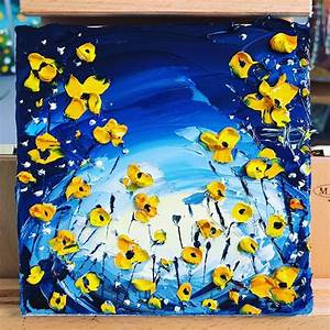 50, Easy, Textured, Flowers, Canvas, Painting, Ideas, For