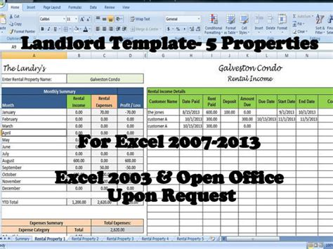 landlord rental income  expenses tracking spreadsheet