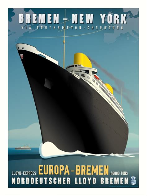 ss europa art deco travel poster based   sketch