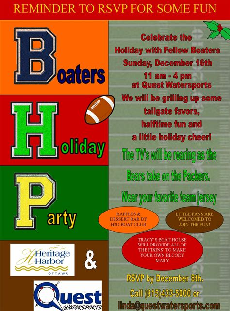 Quest Boat Club Road by Quest Join Us Dec 16 Bears V Packers