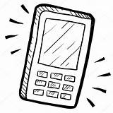 Phone Mobile Sketch Illustration Drawing Cell Cellphone Vector Coloring Drawings Pages Smartphone Device Telephone Doodle Template Printable sketch template