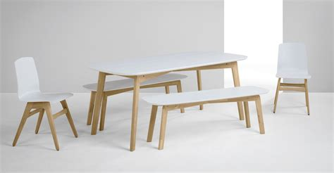 white and oak dining table set dante dining table and bench set oak and white made com