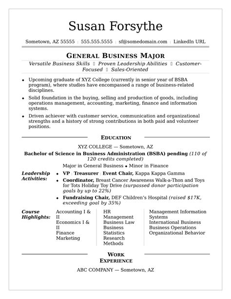 sample resume for college college resume sample monster com