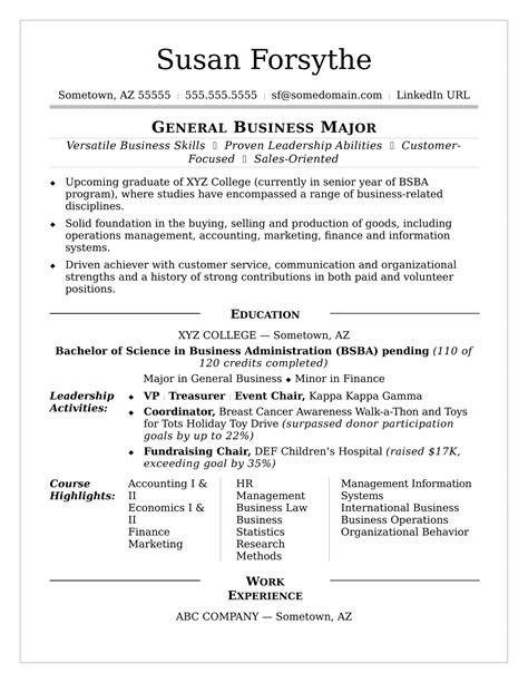 college resume sample monstercom