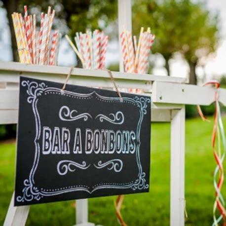 panneau avec message bar en bonbons sur fond ardoise retro