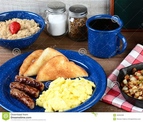 Country Style Scrambled Egg Breakfast Stock Photo Image