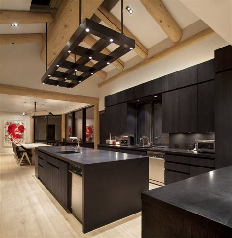 masculine custom light fixture contemporary kitchen