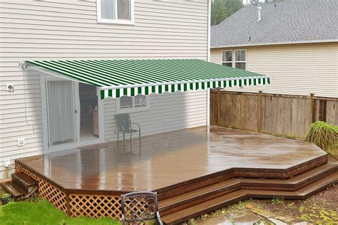 retractable patio awning  feet green  white striped aleko