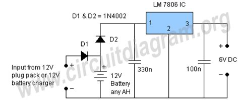 Circuit Diagram 12v To 6v by 6v Battery Backup Circuit Circuit Diagram