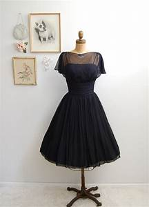 Vintage 1950s Black Cocktail Dress 50s Full Skirt Dress