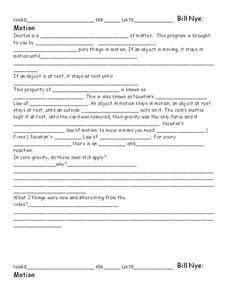 Bill Nye Motion Worksheet For 5th  10th Grade  Lesson Planet