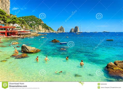 Beautiful Beach And Cliffs In Capri Islanditalyeurope