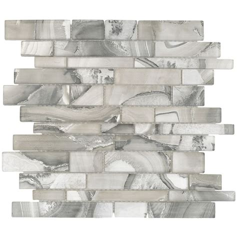 shop elida ceramica volcanic beige silver glass mosaic linear indoor only thinset mortar wall